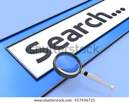 Internet Search Concept. Browser with search and magnifying glass in the design of the information in their search for information on the Internet. 3d illustration - stock photo