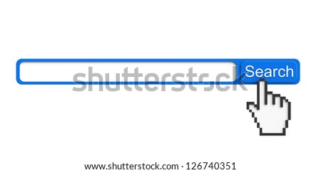 Internet Search Concept. Browser with search button and pixel hand on a white background - stock photo