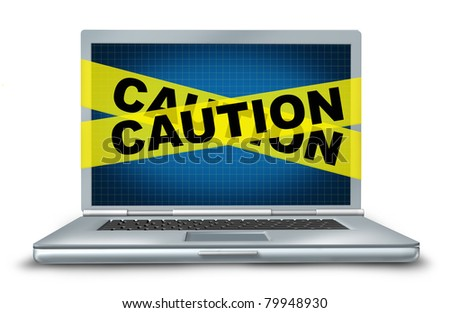 Internet security and computer protection represented by a laptop and caution yellow tape to protect and secure the web connection and hard drive of a connected system.