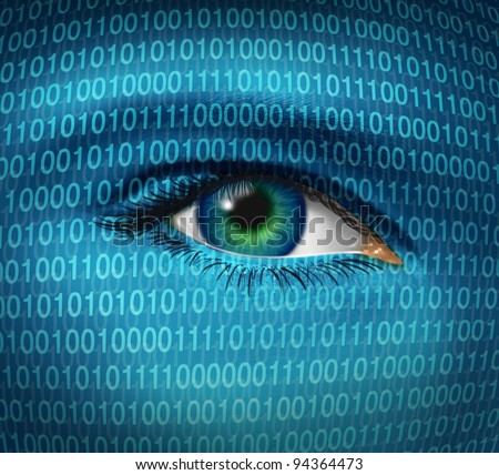 Internet security and privacy issues with a human eye and digital binary code as surveillance of hackers or hacking from cyber criminals watching prohibited access to web sites with firewalls. - stock photo