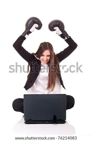 internet security, businesswoman with boxing gloves, isolated on white - stock photo