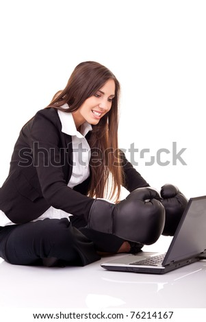 internet security, computer security,  businesswoman with boxing gloves, isolated on white - stock photo