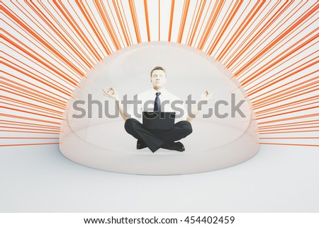 Internet security concept. Businessman with laptop meditating under shield attacked by numerous red laser rays on light background. 3D Rendering - stock photo