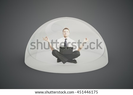 Internet security concept. Businessman with laptop meditating under shield on dark background. 3D Rendering - stock photo