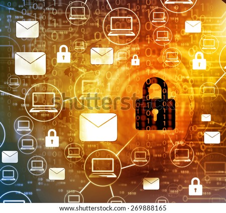 Internet Security concept, computer network with pad lock 	 - stock photo