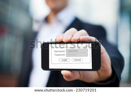 internet security concept, login page on the screen of mobile phone - stock photo