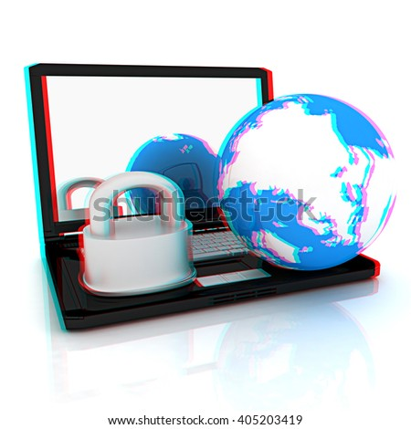 Internet security concept on a white background. 3D illustration. Anaglyph. View with red/cyan glasses to see in 3D.