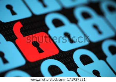 Internet security concept open red padlock virus or unsecured with threat of hacking - stock photo