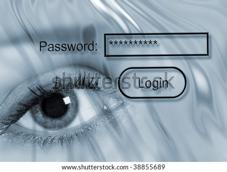 Internet security concept showing eye with password - stock photo