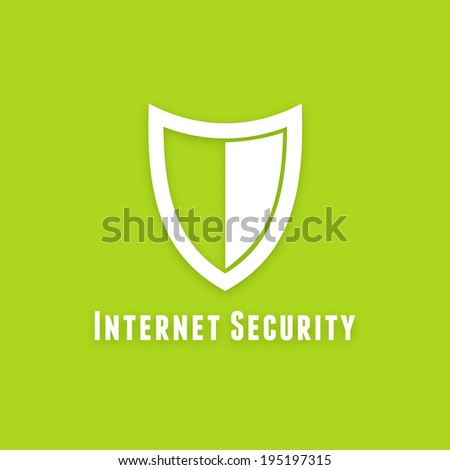 Internet security flat icon on green background. Simple shield symbol - stock photo