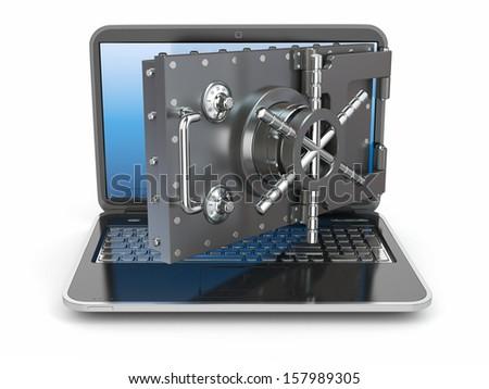 Internet security.Laptop and opening safe deposit box's door. 3d - stock photo