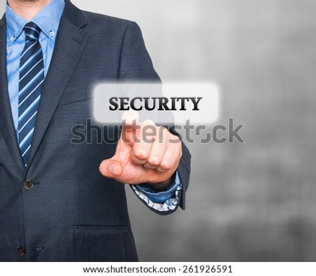 Internet security online business concept businessman pointing security services. Isolated on greybackground. Stock Photo - stock photo