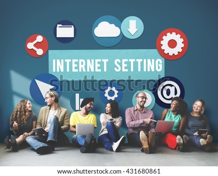 Internet Setting Technology Online Cloud Network Concept - stock photo