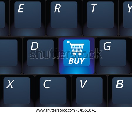 Internet shopping buy key on a black keyboard - e-commerce concept illustration - stock photo