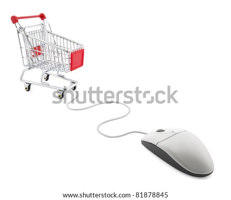 Internet shopping. Computer mouse and shopping cart. - stock photo