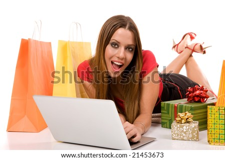 Internet shopping concept by woman purchase with laptop. - stock photo