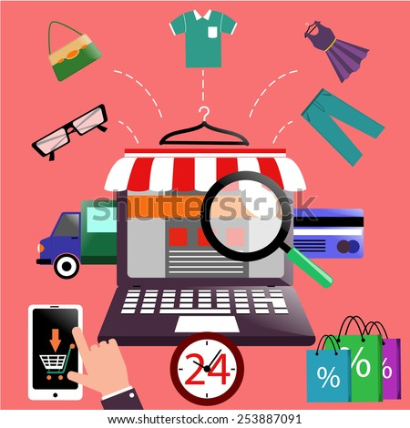 Internet shopping concept laptop with awning of buying products via online shop store e-commerce ideas e-commerce symbols sale elements on stylish background. Raster version - stock photo
