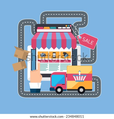 Internet shopping concept smartphone with awning of buying products via online shop store and road with delivery car e-commerce ideas e-commerce symbols sale elements on background. Raster version - stock photo