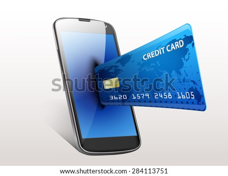 Internet shopping concept smartphone with credit card