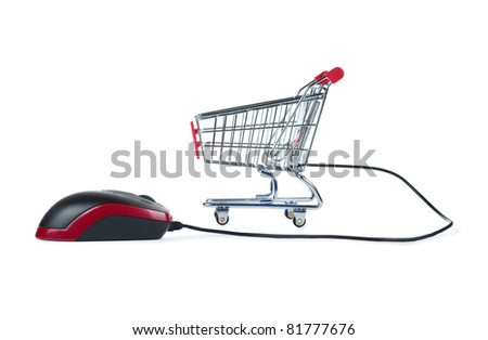 internet shopping concept with computer mouse and shopping cart isolated on white background