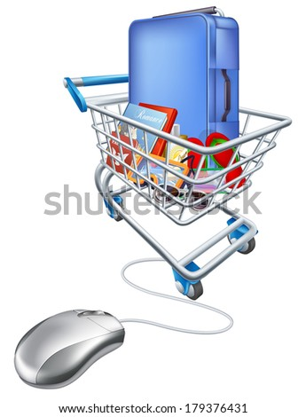 Internet shopping online for vacation concept of a computer mouse attached to a trolley full of holiday essentials