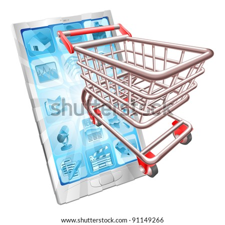 Internet shopping phone concept illustration. Shopping cart flying out of phone screen.