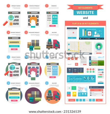 Internet shopping process and delivery. Poster concept with icons of buying product via online shop e-commerce ideas symbol shopping. One page website flat ui and ux kit elements icons. Raster version - stock photo