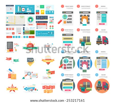 Internet shopping process and delivery. Poster concept with icons of buying product via online shop and e-commerce ideas and shopping. One page website flat ui and ux kit elements icon. Raster version - stock photo