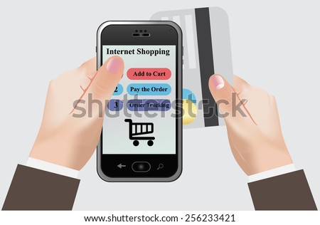 Internet, shopping, smart, phone, clip art - stock photo