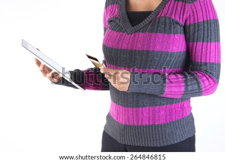 Internet shopping using technology - credit and tablet with wireless connectivity - stock photo