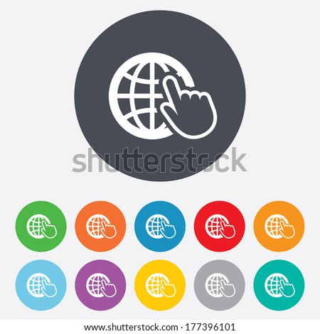 Internet sign icon. World wide web symbol. Cursor pointer. Round colourful 11 buttons. - stock photo