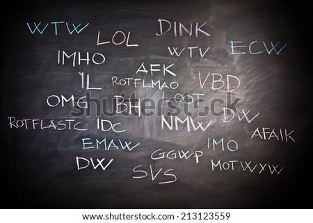 internet slang on classic slate blackboard - stock photo
