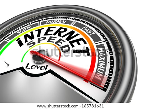 internet speed meter indicate maximum, isolated on white background - stock photo