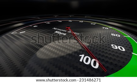 Internet speed with tachometer gauge. Render image - stock photo