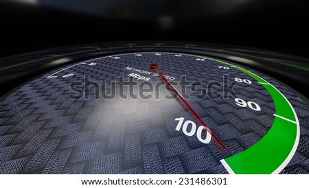 Internet speed with tachometer gauge. Render image