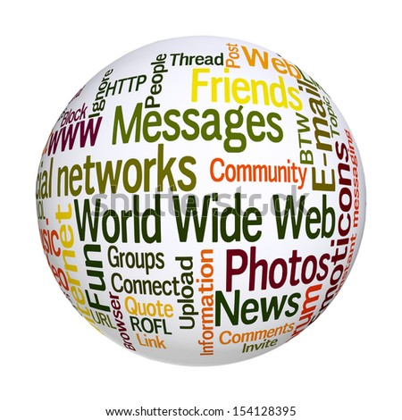 Internet sphere. Frequent words related to social networks. - stock photo