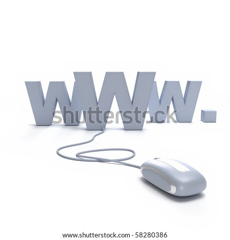 Internet symbol www connected to a mouse - stock photo