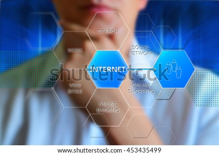 Internet technology concept. Internet button, words social network, online shopping, online banking, web sites, work, search. Concept wallpaper for theme internet. Internet hexagon concept design - stock photo