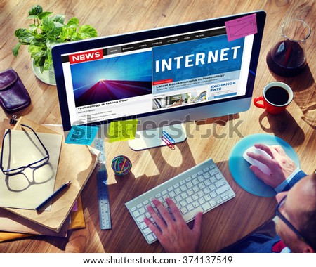 Internet Technology Connection Online Information Concept - stock photo