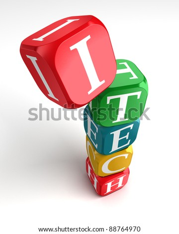 internet technology 3d colorful buzzword dice tower on white background - stock photo