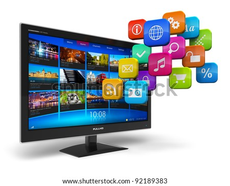 Internet television concept: widescreen TV with streaming video gallery and cloud of application icons isolated on white background - stock photo