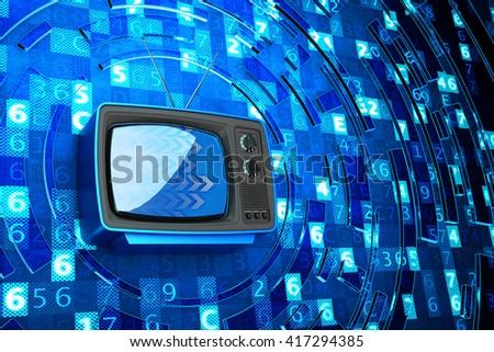 Internet television, telecommunication, broadcasting media and computer technology concept, blue retro tv set receiver on blue digital code background, 3d illustration - stock photo