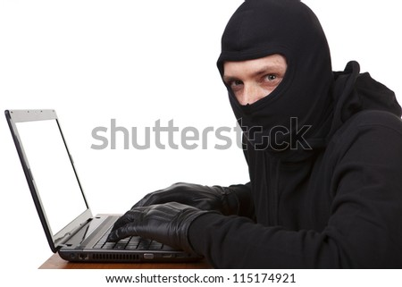 Internet theft - a white laptop screen with space for text. - stock photo