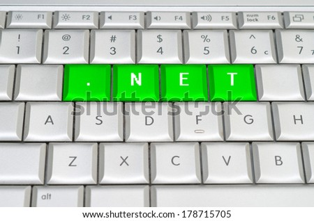 Internet top level domain .net dot net spelled on metallic keyboard - stock photo