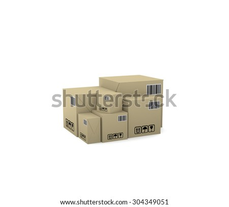 Internet trade. Goods in boxes. 3d illustration on a white background. Render.  - stock photo