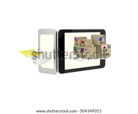 Internet trade in your phone. 3d illustration on a white background. Render.  - stock photo
