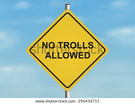 Internet troll issue. Road sign on the sky background. Raster