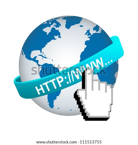 Internet URL Concept, Blue Internet URL Band Around The World With Hand Cursor Isolated on White Background - stock photo