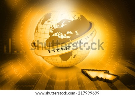 Internet URL with globe on abstract tech background 	 - stock photo