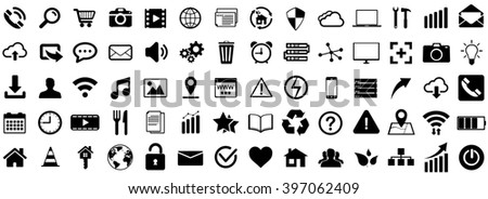 Internet web icons collection on white background